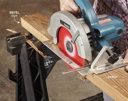 "<b>Photo 3: Bevel the seat struts</b></br> Make a tilted ""bevel"" cut along one edge of each strut. Set your saw to 5 degrees and install the saw's rip guide to steady your cut."