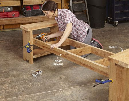<b>Photo 5: Install the seat frame</b></br> Screw the seat frame to the tables from inside with 2-3/4-in. screws. Drive them at an angle so they don't poke completely through the table legs.