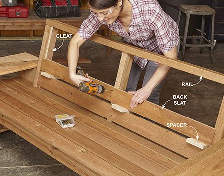 <b>Photo 8: Finish the back</b></br> Screw the back rail and cleats to the back braces, then screw on the back slats, using 3/4-in. spacers to position them.