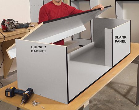 <b>Photo 12: Assemble the upper cabinets</b></br> <p>Build the upper cabinets with the same techniques and materials used for the uprights. Install a blank panel where cabinets will meet at a corner.</p>