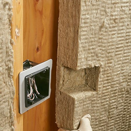 <b>You can carve mineral wool</b></br> Mineral wool batts are so dense that you can carve them to accurately fit around outlets and other obstacles. Just measure and mark like you would if you were making a drywall cutout. This works for outlets, pipes or any other obstruction you're likely to run into.