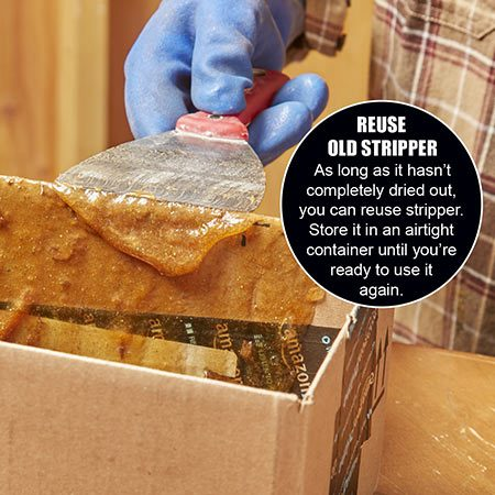 <b>Use a box</b></br> <p>A small cardboard box works great for cleaning off your putty knife. Let the stripper residue in the box dry completely before disposing of it in the trash.</p>
