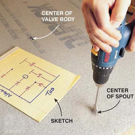<b>Photo 8: Drill small holes</b><br/>Mark the hole centers on the cement board. Drill holes smaller than 1-1/2 in. with an old spade bit or a carbide-grit hole saw.