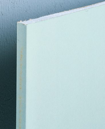 <b>Water-resistant drywall</b></br> <p>Water-resistant drywall is a good choice behind sinks and other places where occasional splashing and high humidity could affect regular drywall. The sheets are made from a water-repellent gypsum core covered by water-resistant paper. Like regular drywall, it's found at most home centers in 1/2-in. thick, 4 x 8-ft. sheets.</p>