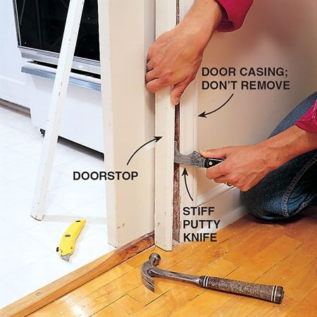 <b>Remove the door stops</b></br> <p>Remove painted-over screws. Cut the paint seam between the door stop and the casing, but don't remove the casing. Pry off the door stops with a stiff putty knife. Remove the door.</p>