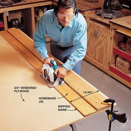 <b>Photo 2: Cut the plywood strips</b></br> <p>Rip the 3/4-in. plywood into the 13-3/4 in. strips you'll later use to construct each of the four standards. You'll need to rip eight identical pieces (see Fig. B) for the standards and one for the top (C).</p>