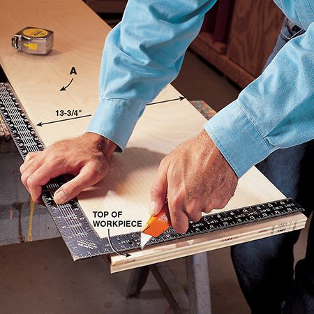 <b>Photo 3: Cut the plywood ends</b></br> <p>Score the 3/4-in. plywood with a sharp utility knife at a height 1 in. shorter than your floor-to-ceiling measurement in Photo 1. Crosscut along the edge of the scored line to get a splinter-free cut.</p>