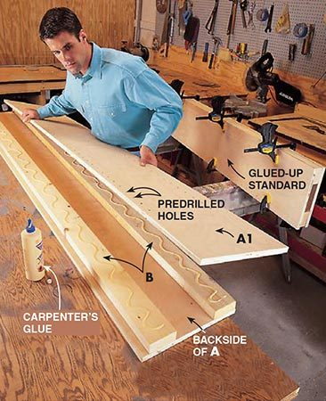 "<b>Photo 6: Construct the standards</b></br> <p>Glue the 2x4s between the plywood pieces (A and A1) ""sandwich style"" to create the two middle upright standards. Also, glue together an A2 and A1 for the far right standard and an A and an A2 for the far left standard. After gluing, clamp them for at least two hours. Be sure the front 2x4 (B) is flush with the front side of the panels and the rear 2x4 (B) is set in about 1/2 in. The extra 1/2 in. on the back makes scribing to the wall much easier.</p>"