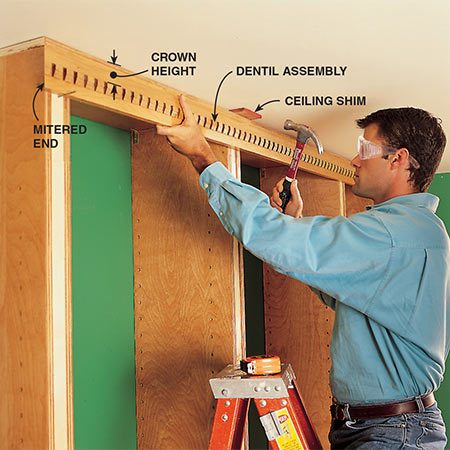 <b>Photo 13: Install the dentil assembly</b></br> <p>Miter the end of the dentil assembly, then cut it to length. Nail the assembly to the front of the standards with 6d finish nails. The 2-5/8 in. distance from the ceiling to the top of the dentil is critical. The bottom of the crown molding profile needs to align with the top of the dentils (Photo 16).</p>
