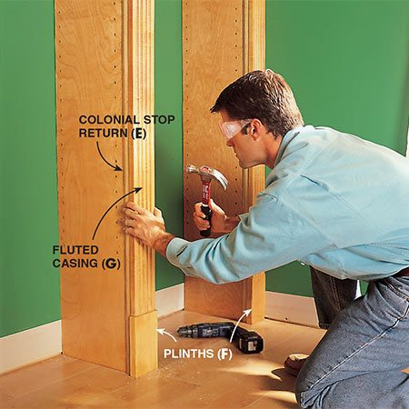 <b>Photo 14: Add the fluted casing</b></br> <p>Nail the fluted casing fronts (use 6d finish nails) to the front edge of each standard after nailing the plinth blocks at the bottom. Also, be sure to nail the side trim (E) even with the fronts of the standards. Since the plinths are wider than the fluted casing, you'll need to rip 1/4 in. from the width of the plinth against the wall.</p>