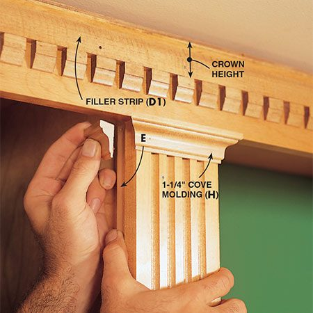 <b>Photo 15: Add the cove molding</b></br> <p>Nail the 1 1/4-in. cove molding (H) to the tops of the fluted casing. The cove molding should wrap around to meet the colonial column returns (E).</p>