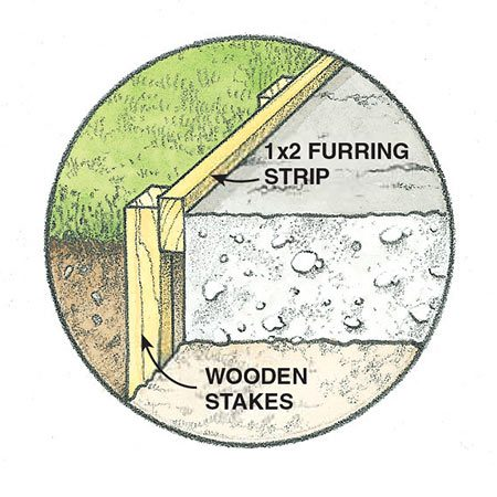 <b>Detail of furring strip installation</b></br> <p>This detail shows how the furring strips that run along the outside edges of the driveway are anchored using stakes.</p>
