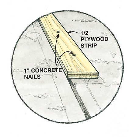 <b>Detail of picture frame plywood strip installation </b></br> <p>This detail shows how the plywood picture frame strips are anchored with concrete nails. These strips define the interior edges of the concrete section to be resurfaced.</p>