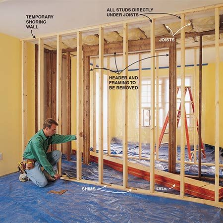 "<b>Construct two temporary walls</b></br> <p>Cut an opening at 21 7/8"" from either side of the bearing wall (assuming it's 4 1/2-in. wide) so you end up with a 48"" opening to patch when you're done. Add the temporary walls about 3-ft. from the bearing wall. Then tear out the bearing wall.</p>"