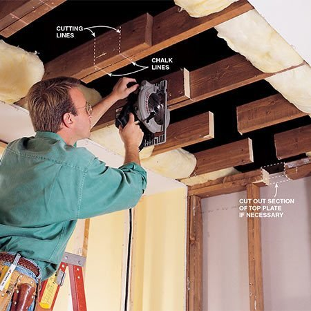 <b>Cut the joists</b></br> <p>Cut out the joist where the beam will go. Leave a little extra space so the beam will fit in easily.</p>