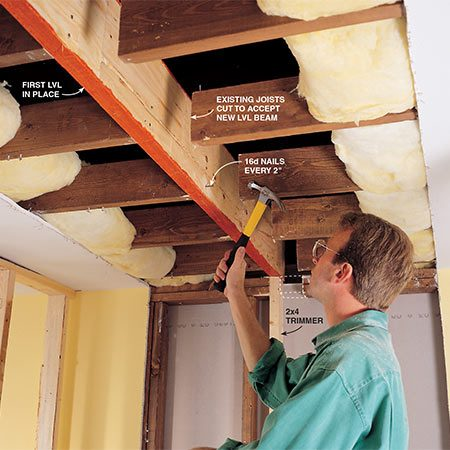 <b>Install the beam</b></br> <p>Install the beam one LVL at a time. Nail the first LVL to the joists, then nail the second to the first and so on. Spread heavy-duty construction adhesive between the beams for extra strength.</p>  <p><b>NOTE</b>: If you're installing more than three LVLs, you'll have to nail and bolt them together.</p>