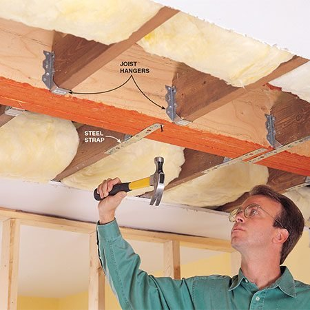 <b>Hang the joists from the beam</b></br> <p>Nail joist hangers (and metal straps if specified by the engineer) to the beam and each joist. Use joist hangers that are designed to carry the size of joists you have (there are hangers for 2x6s, 2x8s, etc.). And use nails especially designed for joist hangers. Then install 2x4 trimmers inside the walls at both ends of the beam.</p>