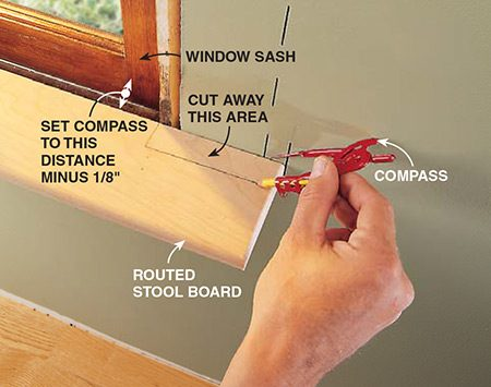 <b>Photo 3: Mark the cutout</b></br> <p>Mark the stool extension by setting your compass 1/8 in. less than the distance from the edge of the board to your window sash. Cut this area away with a handsaw or jigsaw and test the fit. If you have newer windows like those mentioned in the text, skip this step.</p>