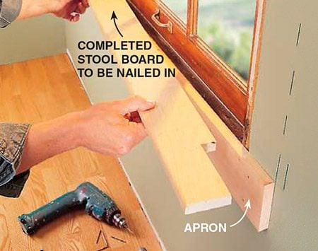 <b>Photo 4: Cut and install the apron, then install the stool</b></br> <p>Cut a 3/4 x 3-1/2 in. apron that extends to the casing marks, and nail it (use 8d finish nails) to the framing behind the drywall and the windowsill. Then place the stool over the apron and sill, and nail it into both with 6d finish nails.</p>