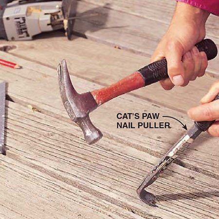 <b>Pull the nails and remove the board</b></br> <p>Pull the nails that hold the board in the middle. Drive a cat's paw into the wood under the nailhead. Pull back on the handle to remove the nail. If the nailhead pulls off, use locking pliers to grab the nail shank.</p>