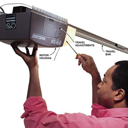 <b>Adjusting the travel setting on a garage door opener</b></br> <p>The Craftsman garage door opener shown here has two set-screws that control door travel. Adjust in small increments (a half turn or less). Test after each adjustment. Continue adjusting until the door opens and closes satisfactorily.</p>