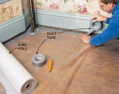 <b>Photo 1: Cover the floor</b></br> <p>Tape 6-mil polyethylene plastic to the floor or baseboard at least 5 ft. beyond the area you're working in. Seal all sides of the poly so dust can't get under it. You could tape the poly to the baseboard instead, but be aware that it might pull off the paint when you remove it.</p>