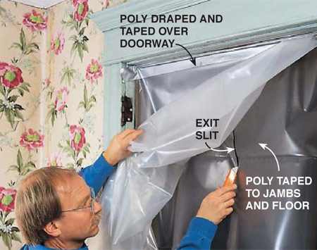<b>Photo 2: Cover door openings</b></br> <p>Tape off doors and other openings to confine dust to the room in which you're working.</p>