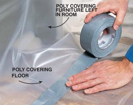 <b>Photo 3: Cover furniture</b><br/><p>Push furniture that you can&rsquo;t remove from the room to the center. Cover it with poly and tightly tape the edges to the poly on the floor.</p>