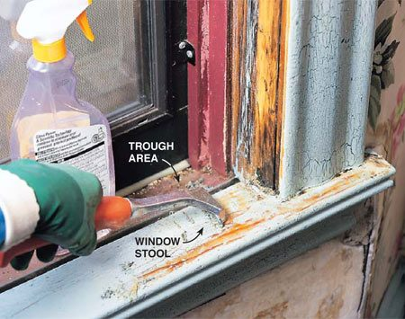 "<b>Photo 7: Scrape the sills</b></br> <p> Scrape window stools and ""troughs,"" the exposed sill below the window sash, because they're highly vulnerable to chipping and peeling from moisture and sunlight.</p>"
