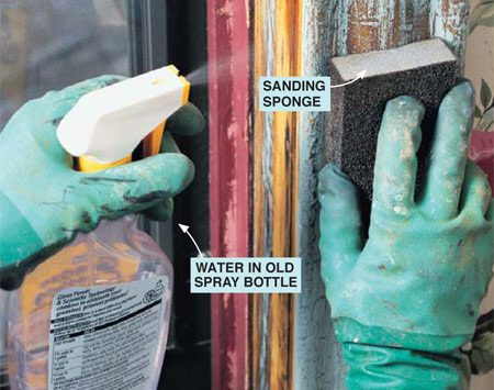 <b>Photo 8: Wet sand</b></br> <p>After scraping, wet-sand chalking or rough areas, and smooth chipped areas with a medium- or coarse-grit sanding sponge. The sponge does a good job of conforming to curves and reaching into corners with its square edges.</p>