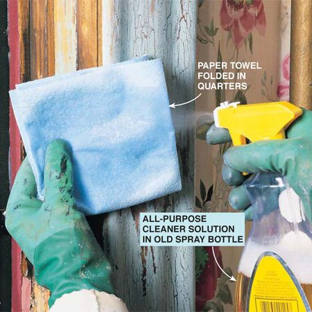 <b>Photo 11: Wet down a paper towel</b></br> <p>Mix an all-purpose cleaner and water in a spray bottle and soak a folded, heavyweight paper towel. (See text for details.)</p>