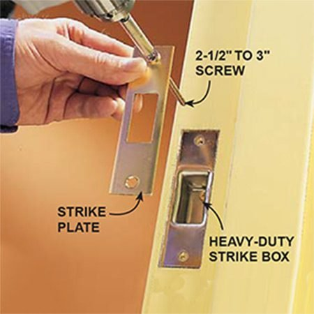 <b>Secure the strike box</b></br> <p>Secure the strike box to the jamb and the 2x4 frame behind it. Drill pilot holes for the screws. Generally, the jamb will have a hollow space behind it. So go slowly to avoid warping the jamb by driving the screws too deep.</p>