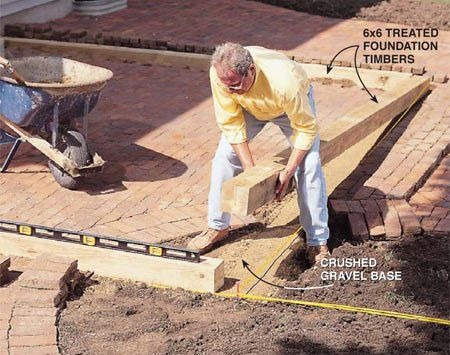 <b>Photo 3: Set the timbers on the gravel</b></br> <p>Lay 6x6 treated (.60) timbers on the crushed gravel base. Level the timbers if necessary by adding or removing gravel. Predrill holes, and nail the timber corners together with 10-in. spikes. Cut the pavers with a masonry wet saw and reinstall them so they fit tight against the timbers.</p>