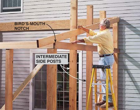 <b>Photo 7: Cut the side posts</b></br> <p>Place the intermediate side posts temporarily with one screw, letting them run long. Then temporarily place an end rafter that has a bird's-mouth notch, and mark the posts for cutoff flush with the top of the rafter. Take the posts down and cut them to length.</p>