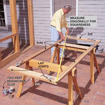 <b>Photo 11: Construct the doors</b></br> <p>Build doors from straight 2x4s and 2x6s. Make sure the doors are square by adjusting for equal diagonal measurements. Cut lap joints by making multiple cuts with a circular saw, then cleaning out the waste with a sharp chisel. Sand the joint surfaces smooth, then glue and clamp them with waterproof two-part resorcinol glue.</p>