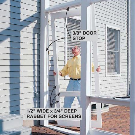 <b>Photo 12: Hang the doors</b></br> <p>Hang the doors with four 3-1/2 in. butt hinges, and install latches and handles and pneumatic door closers. Note the 1/2-in. x 3/4-in. deep rabbets routed into the inside door edges for screens.</p>