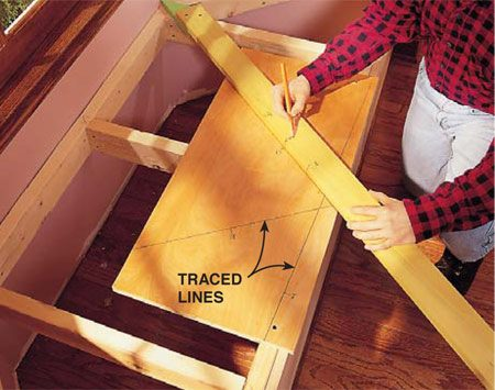 <b>Photo 2: Mark the other corners</b></br> <p>Place the point of the tick stick in each corner, and trace lines and number tick marks just as you did for the first line (Photo 1). When you've traced a line for each corner and both front edges of the seat, remove the scrap.</p>