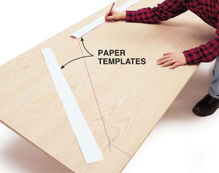 Mark out the complex shape with the scribed paper template.