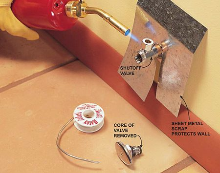 <b>Heat hurts valves</b></br> <p>To keep the heat from damaging the rubber or plastic parts inside, disassemble valves before soldering.</p>