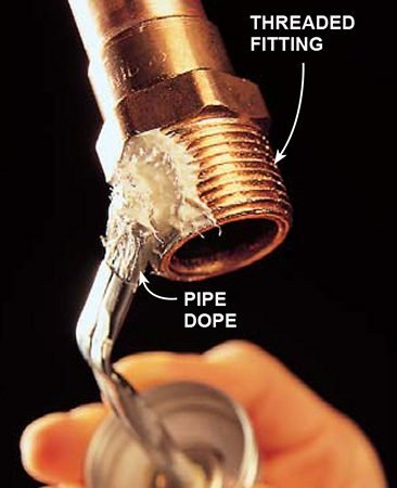 <b>Keep threads solder-free</b></br> <p>Coat threads with pipe dope to keep them free of solder.</p>