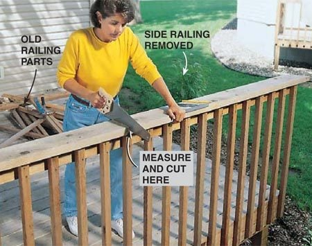 <b>Photo 1: Dismantle the old railing</b></br> Cut your original railing at the point where it intersects the lower fence section, after carefully measuring and marking your layout. Set aside these old pieces and remove all the nails.