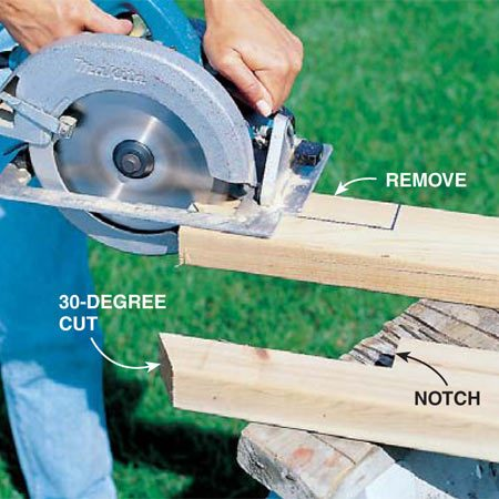 <b>Photo 2: Notch the posts</b></br> Notch the cedar 2x4 posts (A and B) and cut them to length (Fig. A). Be sure to cut the 30-degree miter (or match an existing angle) at the bottom of each post. Notch both the tall and short pieces to fit over the deck edge.