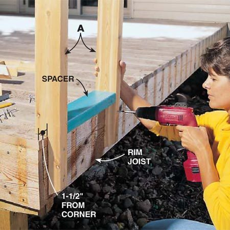 <b>Photo 3: Plumb and fasten the posts</b></br> <p>Screw the posts into the rim joist using a rail section (C) as a spacer. Install the first post 1-1/2 in. from the corner. Use a level to be sure each post is plumb (straight up and down) as you screw it to the rim joist. </p>  <p><strong>Important:</strong> Screw the post adjacent to the house securely to the framing or sheathing under the siding. </p>