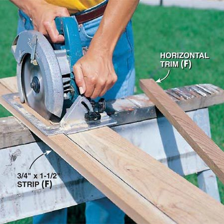 <b>Photo 7: Cut the trim strips</b></br> Mark and rip-cut (saw lengthwise) the horizontal trim pieces (F) and the cleats (G) from wider cedar boards to the dimensions shown in the Cutting List. You may be able to have your lumberyard rip these for you.