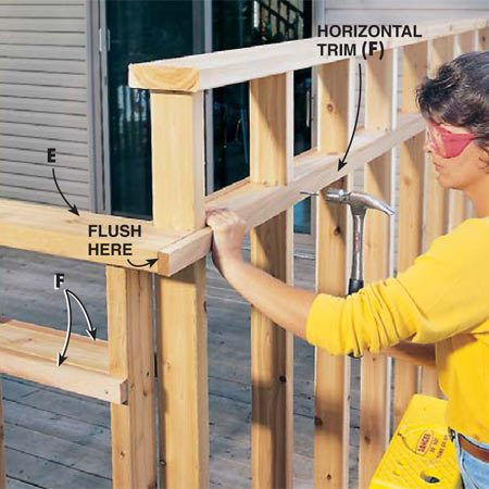 <b>Photo 8: Nail up the trim</b></br> Nail the horizontal trim pieces (F) to the posts (A) and rails (C) with 6d galvanized nails. The trim covers the butt joints between the rails and the posts, and it strengthens the assembly.