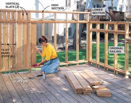 <b>Photo 10: Install the slats</b></br> Drill pilot holes, then nail the slats in place with 4d galvanized nails. Be sure the spaces between the slats and posts are even. Drive the nails at a slight angle for better holding power. Install the upper slats in the same manner.