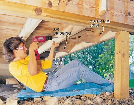 <b>Photo 11: Add bridging to the joists</b></br> Strengthen the rim joist against heavy winds by adding 2x6 (or wider) box bridging between the two outside joists. Fasten the bridging to each joist with three 3-1/2 in. deck screws. Install bridging every 2 ft. Cut each piece of bridging so it fits snugly between the outer rim joist and the next inner one as shown. This boxing will stiffen the rim joist and prevent the fence from swaying.