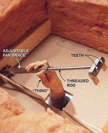 <b>Install a fan brace</b></br> <p>If there is no fan brace or you can't tighten the existing fan brace—or if the box is the wrong type—install an adjustable fan brace.</p>