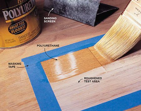 <b>Photo 1: Prepare test areas</b></br> <p>Roughen up two test areas and then coat them with urethane.</p>