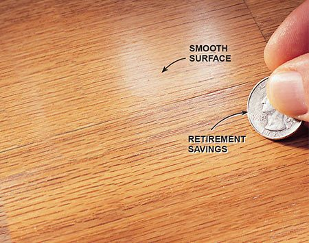 <b>Photo 2: Suitable for refinishing</b></br> <p>Check the adhesion by scraping a coin across the finish.</p>